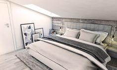 Sypialnia na poddaszu w szarości