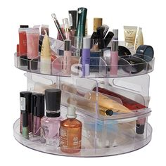 VERSATILE ROTATING SPINNING BEAUTY CLEAR ACRYLIC COSMETIC CADDY ORGANISER DRAWER / MAKE UP NAIL POLISH VARNISH DISPLAY STAND / ORGANISER / RACK / HOLDER CAN ALSO BE USED FOR MAKEUP BRUSH SETS, JEWELLERY AND ARTS AND CRAFT - CAN STORE UPTO 200 ITEMS: Amazon.co.uk: Kitchen & Home