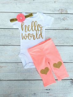 Coral And Gold Hello World Newborn Outfit Hello World Onesie Coming Home Outfit Girl