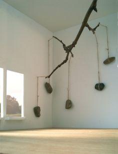 2009/2011 sketch for an installation | schets voor een installatie scale model, branch, rope & stones | maquette, tak, touw & stenen...