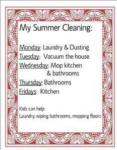 Summer cleaning schedule idea