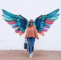 Murals in Phoenix, Arizona - Bestpins Murals Street Art, Graffiti Wall Art, Mural Wall Art, Street Art Graffiti, Angel Wings Art, Angel Wings Painting, Owl Wings, Urbane Kunst, Wall Painting Decor