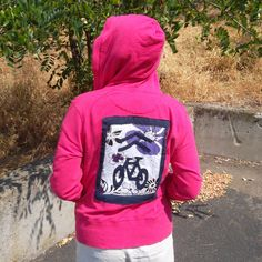 """""""Sharrow"""" jacket, back view, made with salvaged T-shirts"""