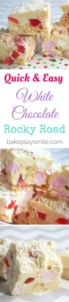 This Easy White Chocolate Rocky Road is packed full of delicious goodies like shortbread, raspberry lollies, coconut and of course, chocolate and marshmallows! #rockyroad   #easy   #nobake
