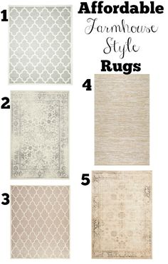 Vintage Farmhouse Decor Affordable Farmhouse Style Area Rugs - This complete and affordable shopping guide will help get you started with transitioning to farmhouse style in your home. Farmhouse Style Rugs, Farmhouse Chic, Farmhouse Windows, Farmhouse Area Rugs, Rustic Area Rugs, Farmhouse Table, Farmhouse Living Room Decor, Texas Farmhouse, Farmhouse Paint Colors