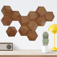 Fancy - Set of 12 Cedar Wood Hexagonal Wall Tiles