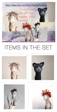 """""""Two Sad Donkeys"""" by artbymarionette ❤ liked on Polyvore featuring art"""