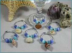 Seashell Wine Charms by MeDayTreasures on Etsy