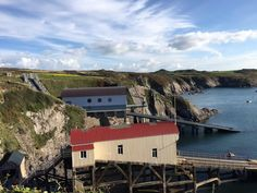 Old and new lifeboat stations at St Justinian's near St Davids.