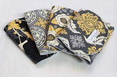 Burp Cloth Set of 4 Yellow and Grey Aviary by SugarPlumLaneBaby, $32.00