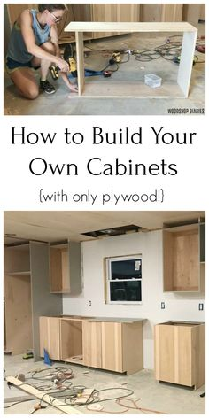 Build Your Own Cabinets--From ONLY Plywood! - Build your own kitchen, bathroom, closet, anywhere cabinets from using only plywood with this easy - Diy Kitchen Storage, Diy Kitchen Decor, Easy Home Decor, Kitchen Design, Decorating Kitchen, Diy Kitchen Ideas, Diy Kitchen Remodel, Building Kitchen Cabinets, Diy Kitchen Cabinets