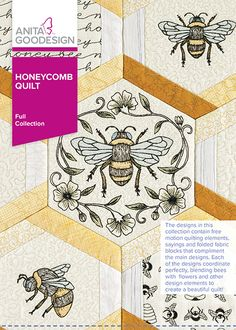 These designs coordinate perfectly blending bees with flowers and other design elements to create a beautiful quilt! We're sure you'll love Honeycomb Quilt! Japanese Embroidery, Diy Embroidery, Embroidery Patterns, Creative Embroidery, Embroidery Files, Machine Quilting Patterns, Fabric Patterns, Machine Embroidery Designs, Anita Goodesign