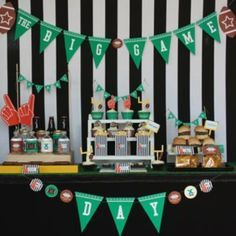 game day party decor table football field goal crafts super bowl and make a table - Super Bowl Party Decorations