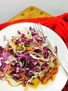 Japanese Slaw salad! Cabbages, Black & white sesame, carrot, and the fantastic Japanese Ponzu Dressing #dairyfree #nutfree #refreshing