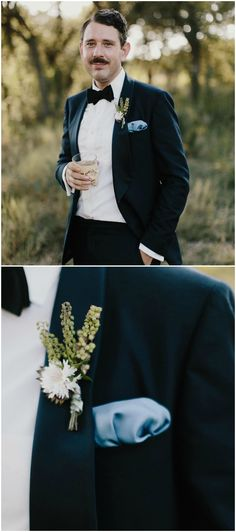 Groom attire, black-tie, blue pocket square, rural charm meets classic elegance // James Moes
