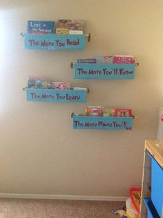 DIY bookshelves with Dr. Suess Quotes
