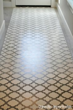 Stenciled concrete floor - great way to update a floor for relatively little time and money! Love the concept but perhaps a diiferent design Stenciled Concrete Floor, Painted Concrete Floors, Painting Concrete, Stained Concrete, Plywood Floors, Concrete Furniture, Concrete Lamp, Kid Furniture, Concrete Countertops