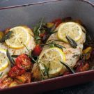 Baked Chicken with Cherry Tomatoes, Herbs and Lemon Recipe - The chicken is so moist and delicious. Very light too. (Used fresh rosemary and thyme the next time I made it and this herb combo was great too!) KH