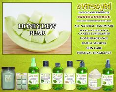 Honeydew Pear Product Collection - Wonderful blend of fresh juicy honeydew melons, cantaloupe and sun-ripened pears. #OverSoyed #HoneydewPear #Honeydew #Pear #MixedFruits #MixedFruit #Fruity #Fruit #Candles #HomeFragrance #BathandBody #Beauty