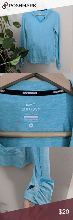 Nike Running Top Pullover Nike top with good color is a beautiful aqua shade, more like first pic, my camera pulled blue Ultra soft! Great Pre-loved condition Nike Tops Sweatshirts & Hoodies