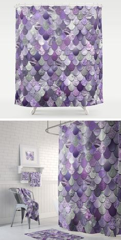 Purple Mermaid Shower Curtain with matching towels and bath mats available.