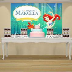 A festa infantil A Pequena Sereia é um tema muito procurado para decorar aniversário. A princesa Ariel, A sereia da Disney, é um tema muito querido pelas meninas e a decoração da festa é linda. O painel personalizado para a festa A pequena Sereia pode ser utilizado para decoração de festa em casa...