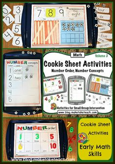 3 early math activities that can be used on a cookie sheet. Great for centers and differentiated too!  Free sample templates.