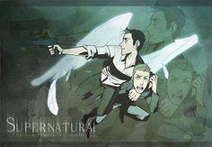 Tags: Anime, Garama, Supernatural, Castiel, Dean Winchester, Handgun, Feather Wings
