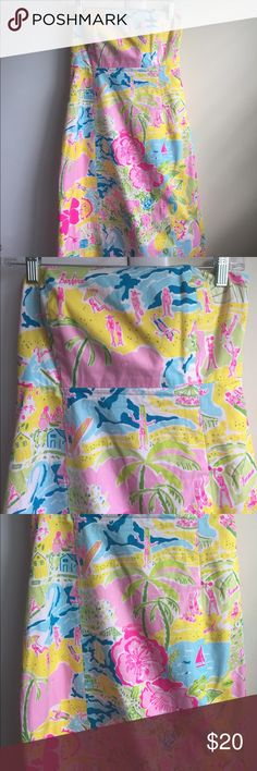 White label Lilly Pulitzer California print Lilly Pulitzer white label dress size 8. This dress is pre loved - it has no holes or pulls but does have 2 tiny stains (in pictures) that is why the dress is priced low. They can most likely be steamed out. Cotton Polly blend dress Lilly Pulitzer Dresses Strapless