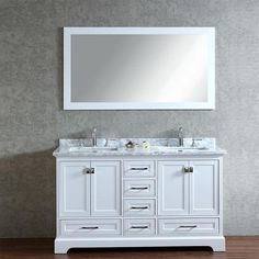 Enhance your bathroom with this beautiful double-sink bathroom vanity set from Stufurhome. The vanity features solid wood construction for sturdiness and a stylish white finish that complements a vari White Vanity Bathroom, Vanity Set With Mirror, Single Sink Bathroom Vanity, Grey Bathrooms, Vanity Sink, Bath Vanities, Mauve Bathroom, Bathroom Small, Bathroom Mirrors