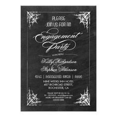 """beautiful, cute and unique design engagement party invitations with vintage typography,  swirly classic frame and black trendy chalkboard background. I suggest the """"Linen"""" or """"Felt"""" paper for this design. If you need more additional products please contact me. If you like my style, please browse my store to see a lot of unique designs. ............................................."""