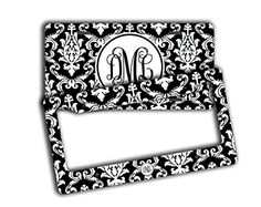 Monogram license plate and frame SET  Black and white damask Monogrammed -- You can find more details by visiting the image link.Note:It is affiliate link to Amazon.