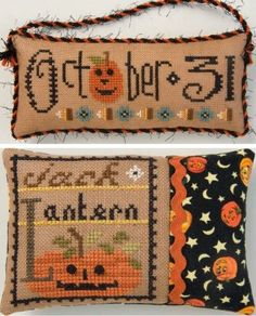 "October 31 Jack O Lantern is the title of this first cross stitch patterns (Double Flip Its) in the Lizzie Kate Halloween Series titled ""Tin..."