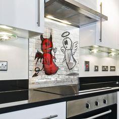 Kitchen Tempered Glass Splashback Protection brick pattern white in Home, Furniture & DIY, Cookware, Dining & Bar, Other Cookware, Dining & Bar   eBay!