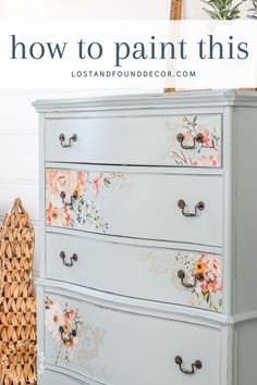 I've found the perfect light blue color to use on this vintage chest of drawers! Passing along my favorite color and more about this gorgeous transfer in this post. Blue Painted Furniture, White Washed Furniture, Painted Chest, Painted Dressers, Painted Floors, Funky Furniture, Plywood Furniture, Furniture Design, Diy Furniture Projects
