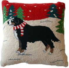 Discover our exclusive holiday dog pillows! This Bernese Mountain Dog hooked pillow charms us with tangled Christmas lights. Dog lover gifts for everyone.
