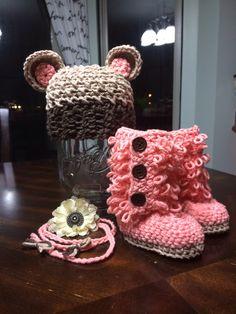 Crochet, baby hat with teddy bear ears, baby ugg boots, headband prop, newborn photo props, twins