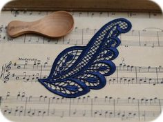 4 PCS Venice Navy Blue Embroidery Peacock by LaceDecoration