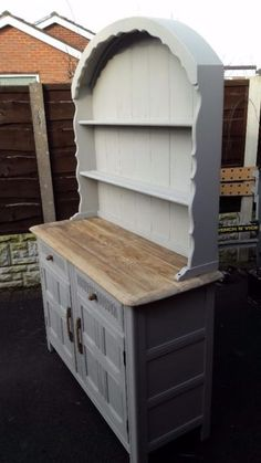 Large priory wooden dutch dresser recently refurbished in chalky flint with it's top sanded down to