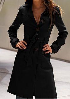 Abrigo largo con cinta-Negro 0.00