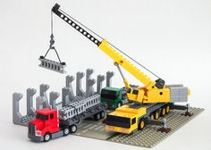 I walked by a mobile crane the other day and it reminded me how interesting they are. And once I had the crane sorted, of course it needed a construction site . For more photos, see the full set. Lego Tractor, Lego Truck, Toy Trucks, Lego Crane, Lego Hospital, Micro Lego, Lego Builder, Lego Construction, Lego For Kids