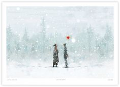 Vintervarm | Lisa Aisato - nettbutikk Old Postcards, Art Inspo, Illustration Art, Snow, Cartoon, Drawings, Outdoor, Inspiration, Lisa