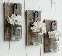 Rustic Farmhouse... Wood Wall Decor...3 Individual Hanging Mason Jars... Candle…
