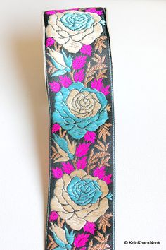 Black Fabric Lace With Rose Floral Design Pink by KnicKnackNook