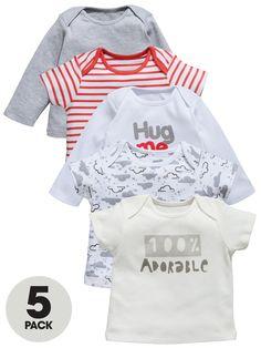 Ladybird Baby Unisex T-shirts Hug Me (5 Pack) | littlewoods.com
