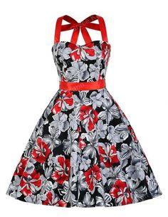 Women Summer dresses jurken halter 2017 new style robe Vintage 50s sexy Big Swing Retro Floral Print Audrey Hepburn dresses