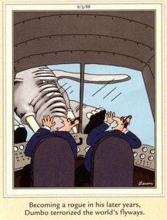 Becoming a rogue in his later years, Dumbo terrorized the world's flyways. ~ The Far Side by Gary Larson Gary Larson Cartoons, Far Side Cartoons, Far Side Comics, Cartoon Memes, Funny Cartoons, Gary Larson Far Side, Aviation Humor, Aviation Quotes, Aviation Art