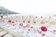 Pink theme and long tables makes it so cute! Wedding by Monte-Carlo Weddings.