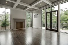 Windows, millwork #Fireplace #woodFloors  #DriftwoodGray