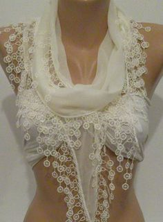 Ivory Beige  Elegance Shawl / Scarf with Lace Edge by womann, $16.90